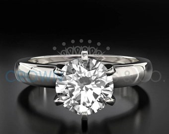 F VS2 Solitaire Diamond Proposal Ring 1.2 Carat Round Brilliant Cut White 18K Gold Setting For Women