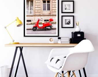 Fine Art Photograph of a Red Vespa - Canvas Print of Paris - France - Wall Decoration - Travel