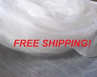 FREE SHIPPING! 50 meters Pure 100% Silk margilan (made in Uzbekistan) for nunofelting, gauze silk, Uzbek silk, width 88 -90 cm.