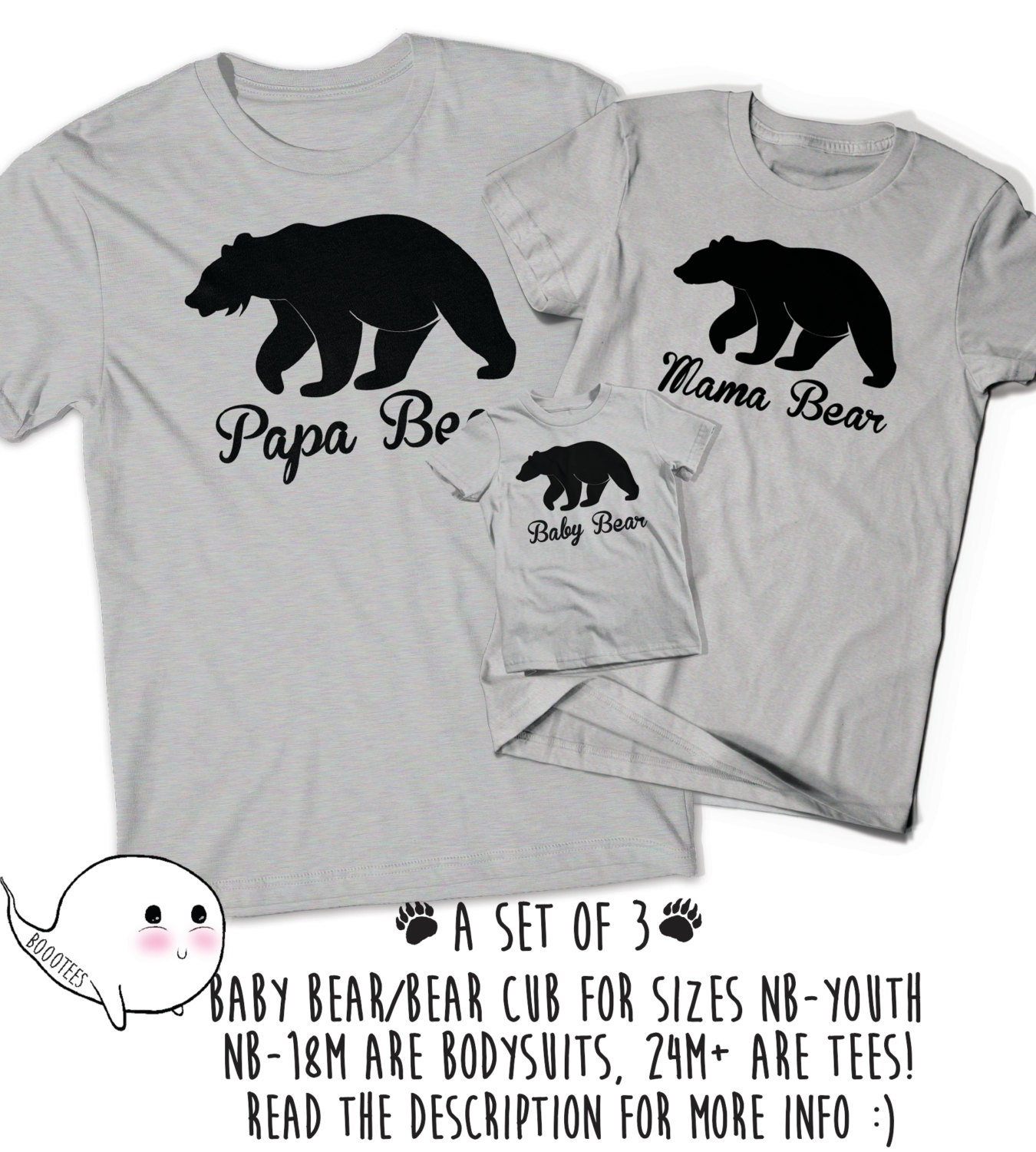 Papa Bear Baby Bear Matching Shirts Set Fathers Day Gift Idea T-Shirt Tee Infant New Toddler Child Kid Gift New Dad Baby Shower Pop Dad Cub xUfRu0XK