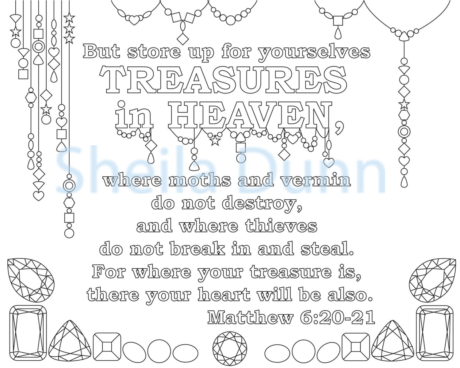 Christian Coloring Page: Treasures in Heaven Featuring Bible