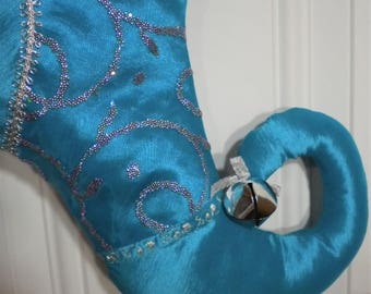 Christmas Stocking in Turquoise with Curly Elf Toe