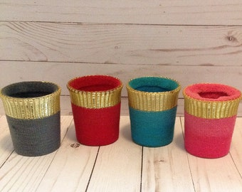 Mid Century 60's Therma-Jacs Insulated Cup Holders set of Four Koozies USA Hi-Jac Barware