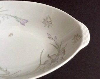 White Oval Serving Bowl, Renoir China, Daffodil Pattern, Grey & Purple Flowers