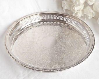 Silver Plated Vanity Tray, French Farmhouse, Boudoir Decor, Wedding Decor, Serving Tray, Shabby Chic Vanity Tray, Cottage Chic