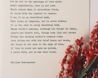 Shakespeare Sonnet 116/ love poem/ wedding reading/ hand typed on typewriter
