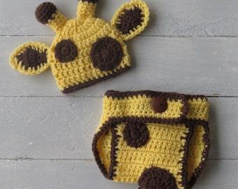 Giraffe Hat and Diaper Cover / Baby Giraffe Outfit / Giraffe Photo Prop / Crochet Baby Giraffe / Crochet Giraffe Hat and Diaper Cover