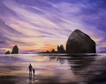 Sunset on Cannon Beach - Oregon Landscape Canvas Print
