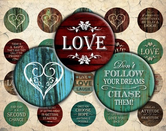 Inspirational Love Quotes on Wood - 30mm, 25mm (1 inch) & 20mm circles - Digital Collage Sheet for Bezel Cabochon Pendants, Crafts