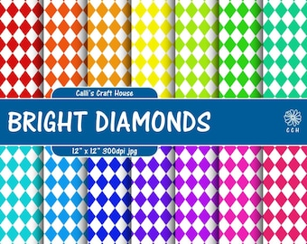 Bright Diamond Digital Papers - 14 rainbow colors backgrounds - white diamond background pattern - Commercial Use - Instant Download