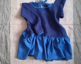 Blue linen oversize dress