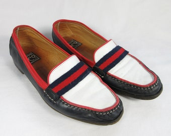Vintage Italian Leather Loafers / Patriotic Red White and Blue, Fourth of July, American Spirit / Italy / Neoclassic / Neo Classique / 11.5