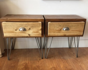 Reclaimed Wooden Bedside Tables on Hairpin Legs