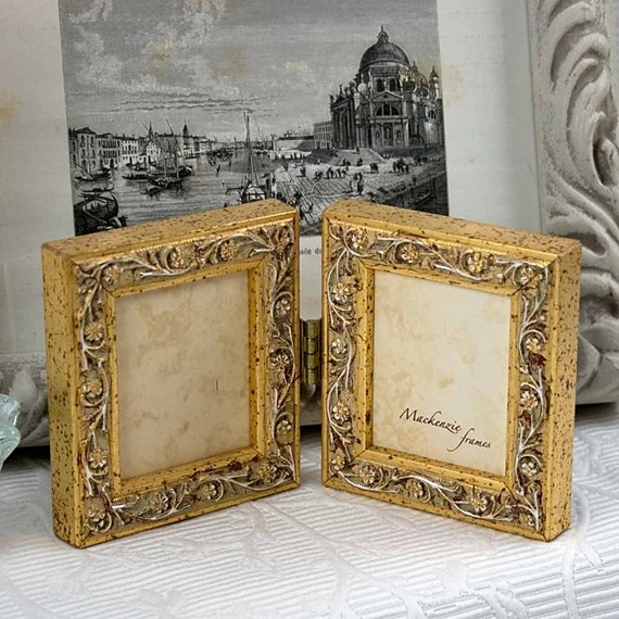 Gold Mini Hinged Double Frame Hanging Vine Pattern/Wedding ...