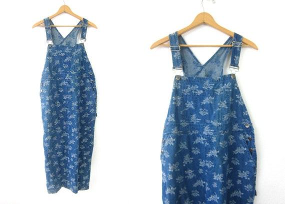Blue Jean Bibs Dress Vintage 1990s Jumper Bibs Flower Dress Preppy Long Casual Hipster Open Bust Floral Dress Women's size 12 Large