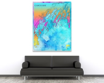 Artistic Print of Casco Bay Chart on your choice of Photo Paper, Matte Paper or Canvas Giclee