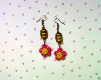 Pink and Yellow Flower Earrings (2225)