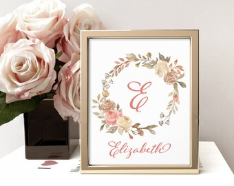 Pink Name Wall Art, E, Personalized Monogram, Floral Monogram, Custom Letter Print, Nursery Decor, Initial Art, Elizabeth Decor, Nursery Art