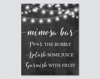 Printable Chalkboard Mimosa Bar Sign - Rustic Bridal Shower Mimosa Bar Sign Printable - Chalkboard and Lights Bridal Shower Sign - 0005