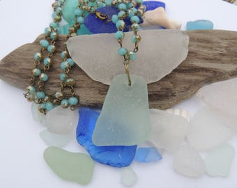 Aqua Sea Glass Necklace with Aqua Glass Bead Chain, Authentic Sea Glass