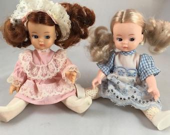 "Vintage Dolls pink a d blue 6.5"" Tall"