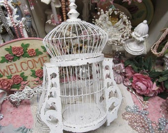 Shabby Chic Vintage White BIRCAGE, Hand Painted, Distressed, Wire and Wood, Front door, Access thru Bottom, Cottage Decor, Victorian