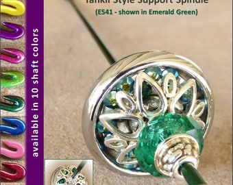 Support Spindle (Tahkli Style) - No. 541 - Chrome and Emerald Crystals 1.2 in. Whorl- FREE SHIPPING