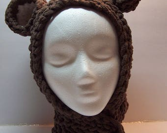 Teddy bear ear hat in super soft chenille for child