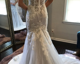 Ivory and Gold Illusion Bodice Sequin Lace Trumpet Wedding Dress