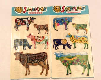 Vintage 1990s Set Of 2 Cow Parade Sandylion Sticker Sheet Plaid Pizza Jungle Leopard Print