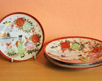 Vintage Set Of 3 Geisha  Girl Japanese Poercelain Plates, Chinese Porcelain Signed, Serving Plates Set