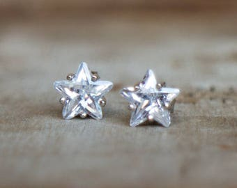 CZ Diamond Star Silver Ear Studs