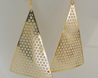 Gold Earrings - Geometric Earrings - Triangle Earrings - Boho Earrings - handmade jewelry