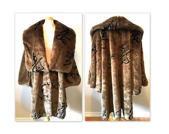 Vintage 80s Faux Fur Coat in a Plus Size 2X 3X Avant Garde