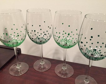 Single Color Confetti Painted Wine Glass