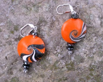 Orange and Black Lentil Bead Earrings
