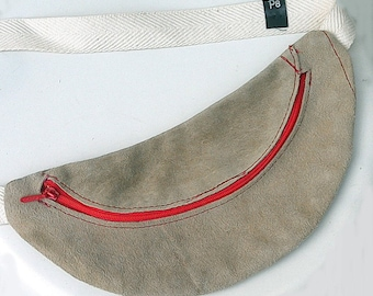 Unique Beige Leather Fanny Pack , Recycled Vintage Leather , Leather Hip Bag , Leather Belt Bag , Leather Waist Bag , Festival Bag