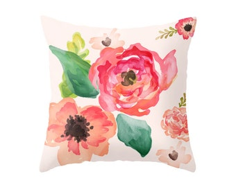 Pastel Florals Accent Pillow Cover - Throw Pillows - Decorative Pillows