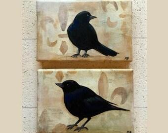 "Set of 2 Blackbird Paintings with Fleur-de-Lis--4"" x 6"" each, original acrylic painting on canvas--bird art, black birds, crows, ravens"