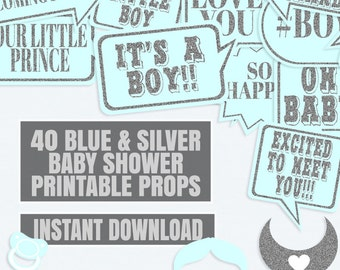 40 Blue and Silver Baby Shower Photo Booth Props, Blue Glitter, Printable Baby Shower photo booth props, blue gender reveal baby shower s3e3