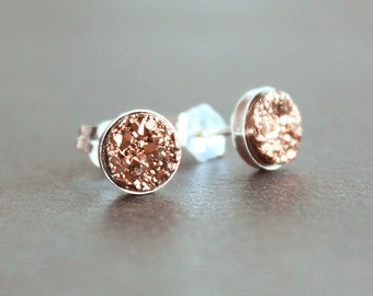 Rose Gold Drusy Sterling Silver Earrings - Post / Stud Earrings - 6mm - READY To SHIP - Druzy / Drusey / Druse - Free US Shipping