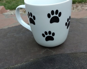 Father's Day Gift, Dog Mug, New Puppy, Dog Paw Coffee Mug, Dog Mom, Customize Pets name, Personalize, Dog Lover, Drinkware