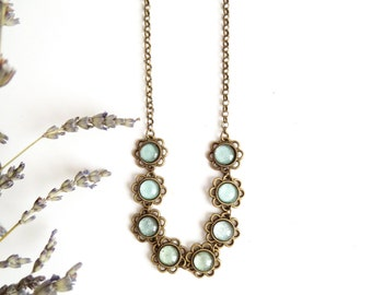 Boho choker gift Bib necklace Bridesmaid nature jewelry Botanical jewelry Flower girl necklace Nature Jewelry Minimalist floral necklace