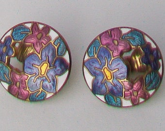 Vintage 1980s Cloisonne Lilac, Rose & Turquoise Enamel Flower Themed Clip-On Earrings