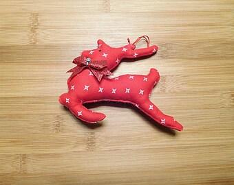 Sale Red Christmas Reindeer Ornament Primitive Bowl Filler Holiday Decoration