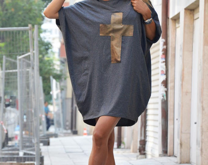 Oversize Dark Gray Tunic, Casual Blouse With Cross, Plus Size Loose Tunic, Extravagant Cotton Dress By SSDfashion