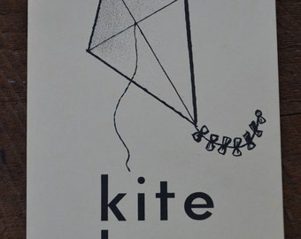 Vintage 1950s Educational Ephemera Scrapbooking Large Picture Print Flash Card - Kite