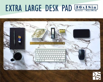 White Marble Print Extra Large Desk Pad with Available Custom Monogram - Extended Mouse Mat - 36x18in