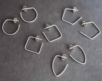 Minimalist Hoop Earrings Sterling Silver. Small Simple Sleepers. Boho Urban Gypsy Sleek Elegant. Eco Recycled Reclaimed Everyday Design