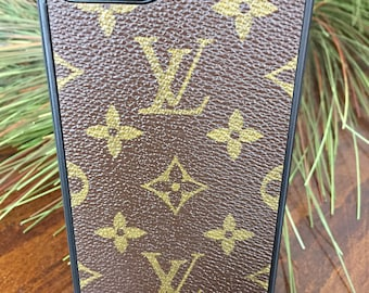 Handcrafted iPhone 7plus flexible cell phone case covered with re-purposed Louis Vuitton canvas